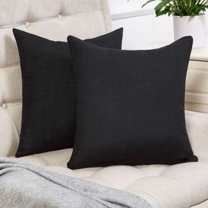 Other - Black 18x18 Throw Pillow Covers